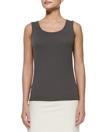Opulent Cotton-Blend Scoop-Neck Tank