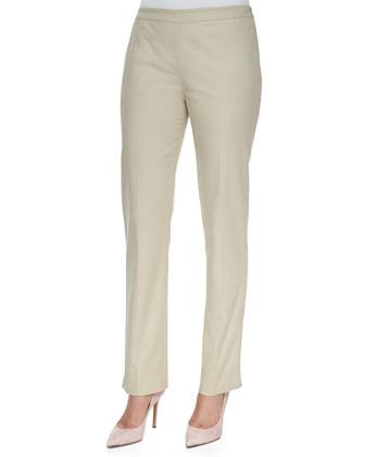 Bleecker Bi-Stretch Side-Zip Pants, Raffia