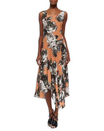 Evalyn Sleeveless Roses-Print Dress