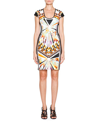 Tropical Palm-Print Sheath Dress, Black Multi