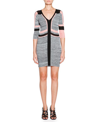 Colorblock Textured Knit Dress, Apricot
