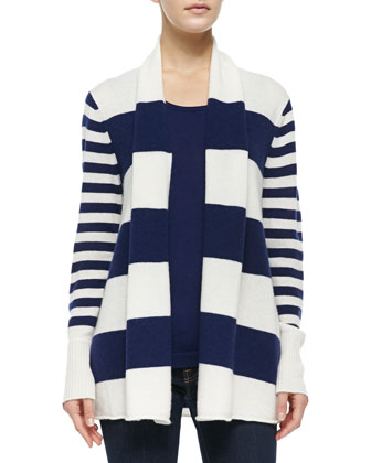Open Striped Cashmere Cardigan