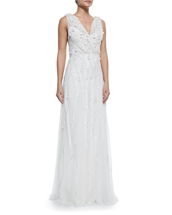 Elsie Petal-Embellished Sequined Gown, Ivory