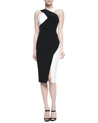 Marique Beaded Colorblock Crisscross Dress, Black/Ivory