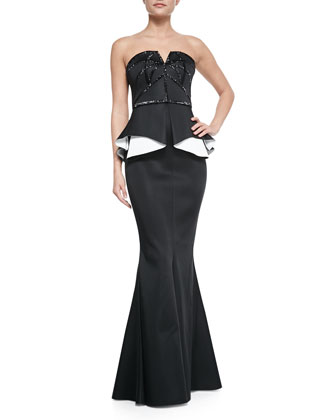Kasia Strapless Beaded Contrast-Peplum Gown, Black/White