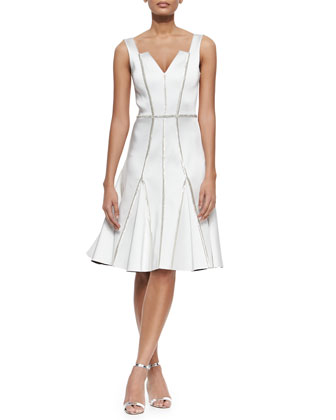 Kasia Beaded-Seam Fit-and-Flare Dress, Ivory