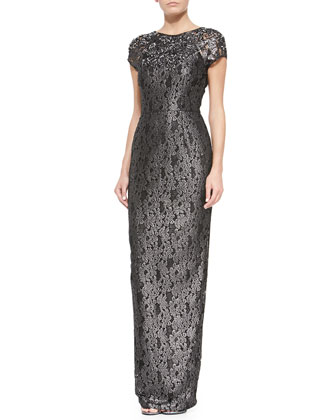 Amelia Jewel-Embellished V-Back Lace Gown, Black Metallic