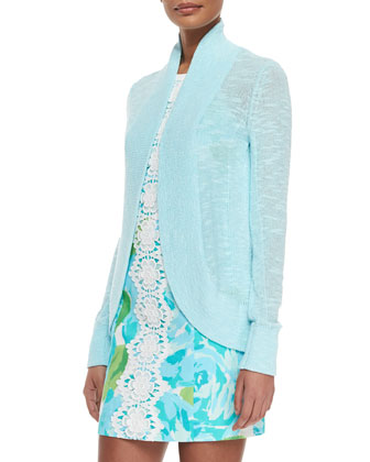 Amalie Long-Sleeve Open Cardigan & Pearl Floral-Print Lace-Center Dress