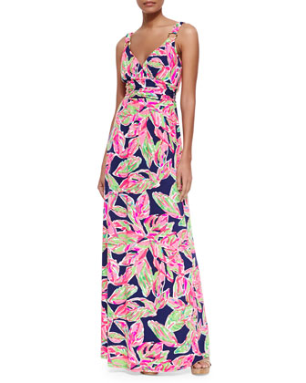 Villa Printed Empire-Waist Maxi Dress