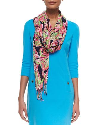 Charlene V-Neck Shift Dress & Lilly Print Scarf