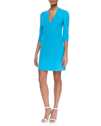 Charlene V-Neck Shift Dress, Ariel Blue