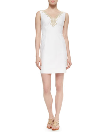 Bentley Shift Dress W/ Gold Lace Trim
