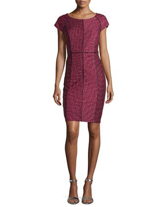 Cap-Sleeve Sheath Dress W/ Piping