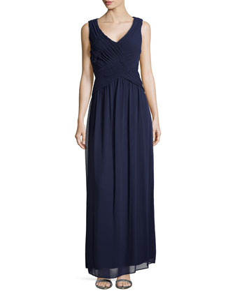Sleeveless Shirred Chiffon Gown