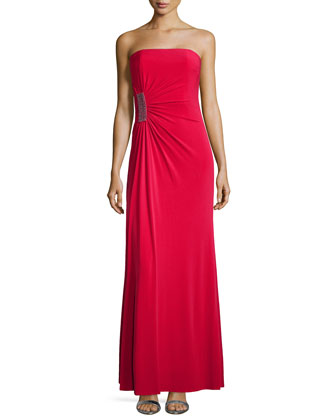 Strapless Gathered Jersey Gown, Lava