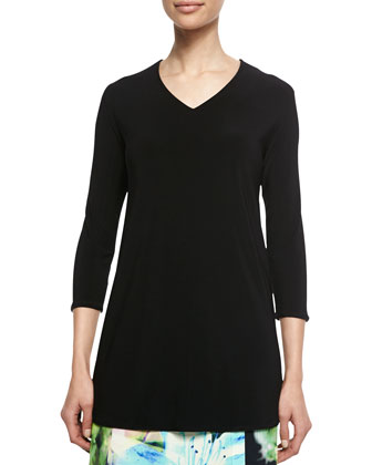V-Neck 3/4-Sleeve Knit Top, Black, Petite