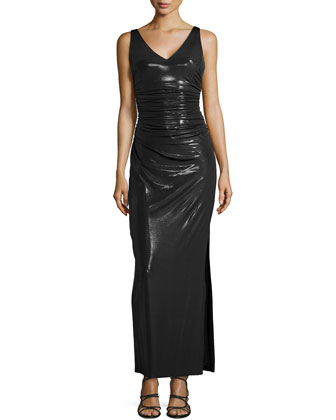 Sleeveless Crisscross-Back Gown, Black