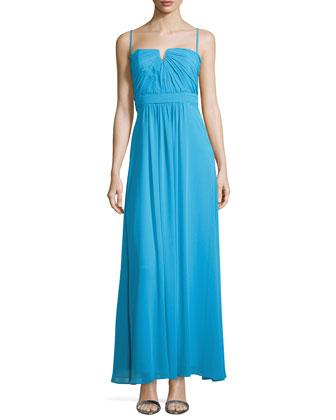 Shirred Bodice Chiffon Gown, Cerulean