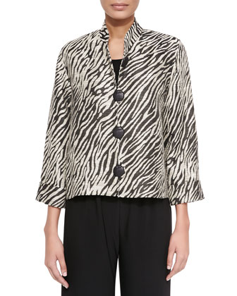 Safari Jacquard Boxy Jacket, Basic Knit Tank & Stretch-Knit Wide-Leg Pants, ...