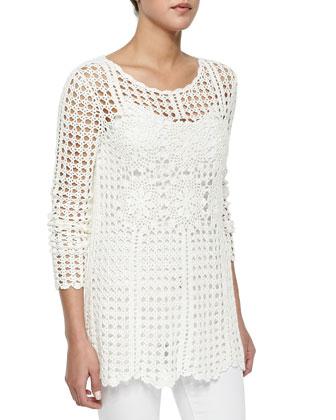 Long-Sleeve Filet Crochet Sweater