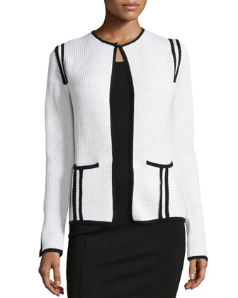 Waffle-Knit Jacket W/ Scalloped Trim, White/Black