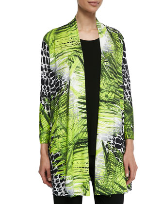 Crocodile Twist Printed Long Cardigan, Women's