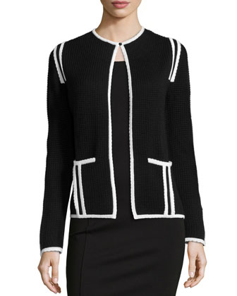 Waffle-Knit Jacket W/ Scalloped Trim, Black/White