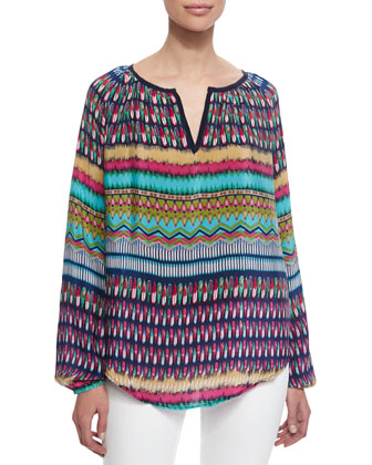 Kim Long-Sleeve Printed Tunic, Women's