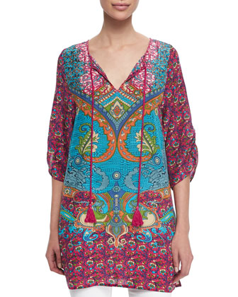 Juliet Silk Printed Long Tunic W/ Tassels, Women's