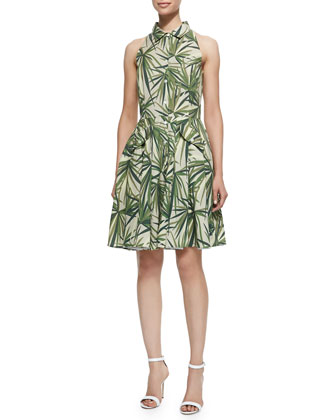 Alohi Palm-Leaf-Print Dress