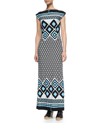 Geometric-Print Bateau-Neck Long Dress