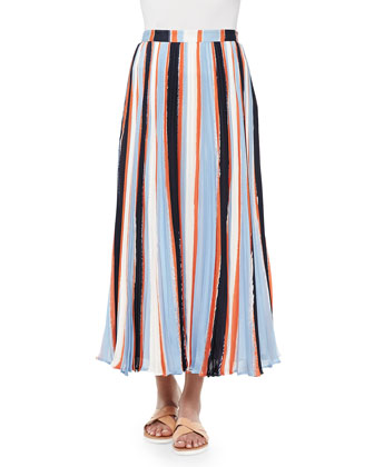 Koa Pleated Striped Chiffon Skirt