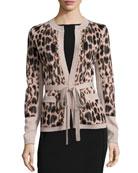 Animal Jacquard Belted Cashmere Jacket