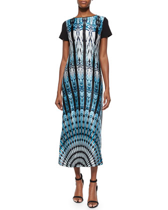 Feather-Print Short-Sleeve Long Dress, Women's
