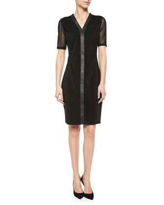 Eleanor Mesh & Leather Sheath Dress