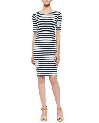 Short-Sleeve Striped Knit Dress