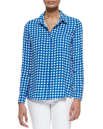 Long-Sleeve Gingham Shirt