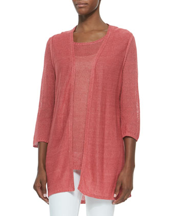 Long Open Cardigan Vest & 3/4-Sleeve Mesh Linen Tee