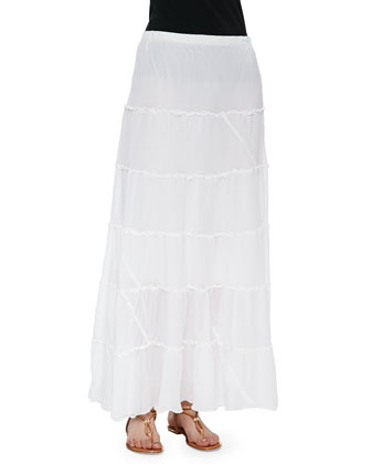 Short-Sleeve Vintage Rose Embroidered Top, Tiered Maxi Skirt & Hummingbird ...