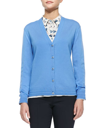 Madison V-Neck Button-Front Cardigan, Blue