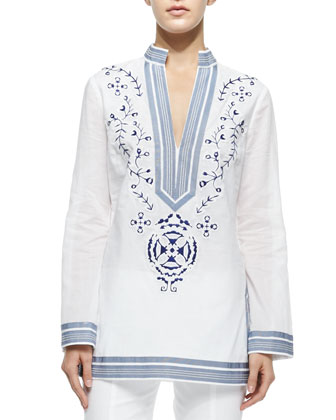 Tory Embroidered Tunic W/ Ribbon Trim & Callie Skinny Ankle Pants