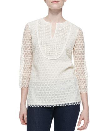 Tali-3/4-Sleeve Combo Honeycomb Top