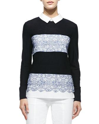 Edwina Embroidery Paneled Sweater & Callie Skinny Ankle Pants