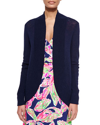 Amalie Long-Sleeve Open Cardigan, Navy