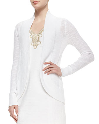 Amalie Long-Sleeve Open Cardigan & Bentley Shift Dress W/ Gold Lace Trim ...
