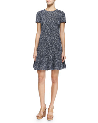 Margarite Short-Sleeve Flounce Dress, Navy