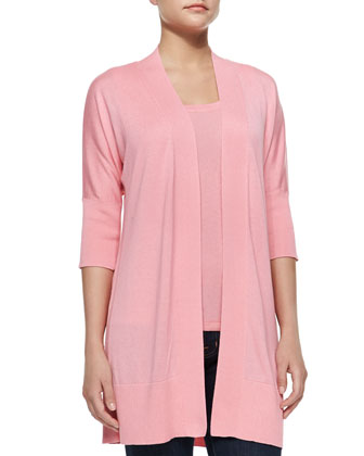 Silk-Cashmere Half-Sleeve Cardigan