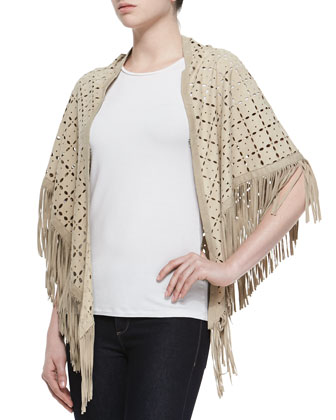 Cora Suede Perforated Fringe-Trimmed Shawl