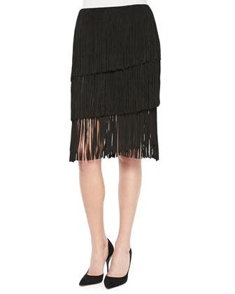 Kidskin Suede Tiered Fringed Skirt