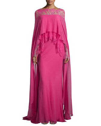 Chiffon Caped Sheath with Embroidered Lace